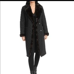NWT Bagdley Mischka winter coat QUILTED FAUX FUR L